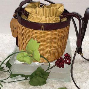 Aigner vintage wicker drawstring crossbody bag